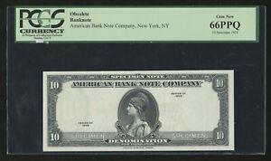 AMERICAN BANKNOTE Co. 1929 SPECIMEN OBSOLETE NOTE PCGS 66PPQ GEM UNC BN6751