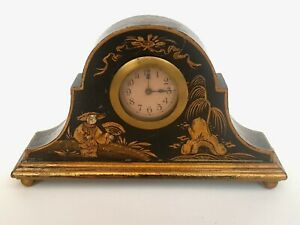 Antique-Japanned Gilt/Painted & Decorated Napoleon Style Mantle Clock-circa 1900