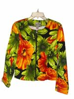 Joseph Ribkoff Womens Jacket Multicolor Green Floral Zip Up Scoop Stretch 12