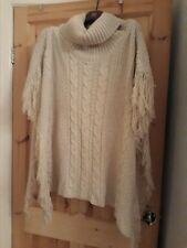 Beige Poncho With Cable Detail And Roll High Neck Cowl