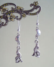 Howling Wolf and Silver Crescent Moon Dangly Earrings - Pagan Gothic Fantasy