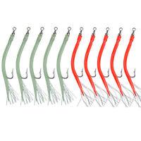 5/10Pcs 31022 Kirbed Bent Hooks Green & Red Tube-7/0 10/0 Hook- Striper Jig Lure