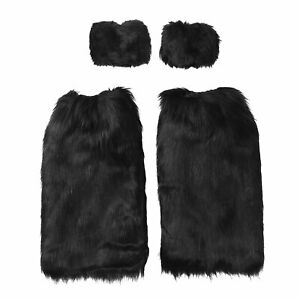 Womens Toppers Leg Warmers Faux Fur Furry Leggings Boot Socks with Cuffs Winter