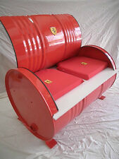 Espectacular BANCO BIDÓN de metal, color rojo ferrari