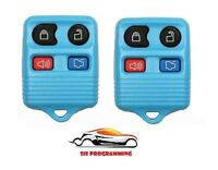 PAIR LIGHT BLUE NEW FORD 4 BUTTON KEYLESS ENTRY FOB CLICKER REMOTE