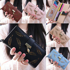 Korean Women Hollow Leaf Hasp Zipper Long Clutch Bag Card Wallet Coin Purse