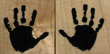mounted  rubber stamp Handprints set of 2 stamps  sm size  each 1 1/4