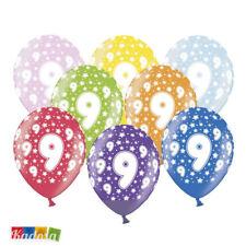 6 pz Palloncini 9 Anni Multicolor - Birthday Compleanno Festa Decorazioni Party