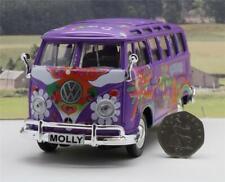 Personalised Plate 17cm Purple Hippy VW Camper Van Bus Toy Model Diecast Boxed