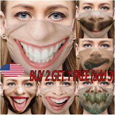 3D Printed Funny Face Mask Breathable Washable Mouth Protection Reusable US