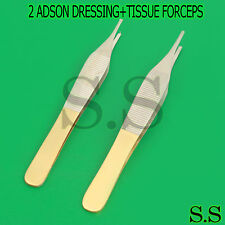 2 PLASTIC SURGERY ADSON DRESSING+TISSUE FORCEPS SURGICAL INSTRUMENT GOLD HANDLE