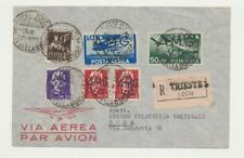 AMG VG TRIESTE Italie, lettre recommandée Housse à Rome, poste aérienne, BON