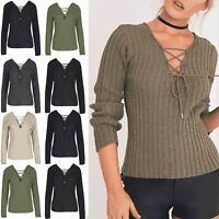 Womens Pullover Jumper Ladies Ribbed Knit Front Back Eyelet Lace Up V Neck Top