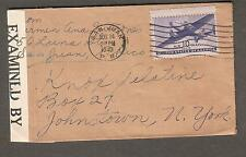 1944 WWII air mail examined 1859 Miami censor cover Luna St San Juan PR to NY