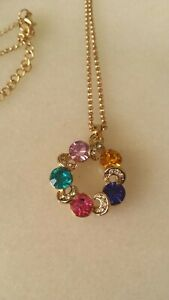 Rainbow coloured necklace vintage style