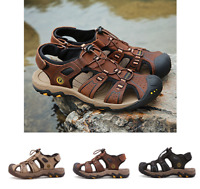 Summer Mens Black Sandals Beach Leather Casual Closed Toe Shoes Breathable