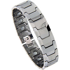 Tungsten Carbide Magnetic Bracelet w/ Faceted Bar Links