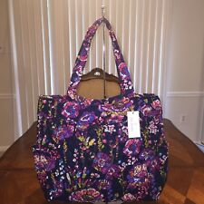 NWT Vera Bradley Pleated Tote In Midnight Wildflowers