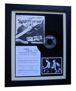 "SEX PISTOLS Anarchy In The UK 7"" VINYL GALLERY FRAMED DISPLAY+FAST GLOBAL SHIP"