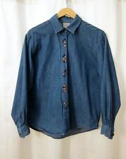 Vtg 90s Blue Denim Button Front Shirts Rose Embroidery Long Sleeve Women's Sz M