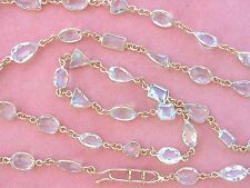 """ESTATE ART DECO STYLE 43 CARAT AQUAMARINE BY-THE-YARD 18K CHAIN 28.25"""" NECKLACE"""