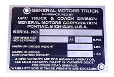 1947 1948 1949 1950 1951 1952 Identification Door Post Plate GMC 1/2 Truck Only