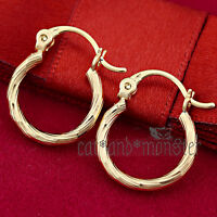 9K 9CT YELLOW GOLD FILLED LADY GIRLS SOLID TWISTED HOOP HUGGIES SLEEPER EARRINGS