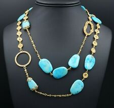"Designer Coomi 20k Gold Turquoise Diamond Affinity Necklace 40"" $47,000 CO614"
