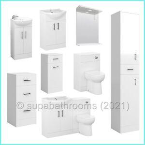 Bathroom Vanity Unit Cabinet Cloakroom White Furniture Toilet Basin Sink Storage
