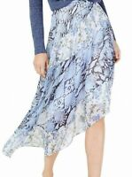 INC Womens Blue Size 12 Snakeskin Printed Chiffon Asymmetrical Skirt $89 372