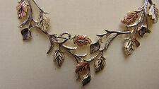 """Black Hills Gold Sterling Grape Leaf Necklace Original Velvet Box 20"""""""