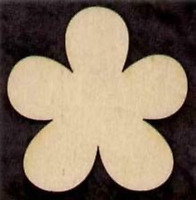 "FLOWER Shape  4"" Unfinished Craft Wood Cutout #407-4"