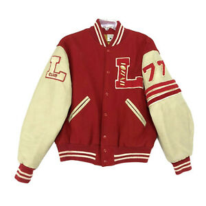 Letterman Jacket Vintage 70's Varsity Red Yellowed Arms '77 Football Patches  L