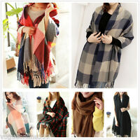 Women Plaid Checks Tartan Long Soft Warm Winter Wrap Pashmina Stole Shawl Scarf