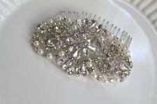 Bridal beaded pearl & crystal luxury headpiece wedding hair comb.