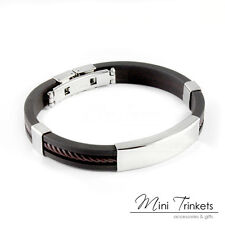 Mens Boys Silver Stainless Steel ID Bracelet Bangle Black Rubber Silicone Gift