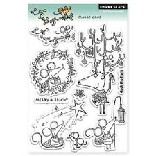 PENNY BLACK RUBBER STAMPS CLEAR MOUSE DECO CHRISTMAS STAMP SET