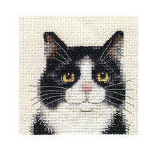 BLACK & WHITE CAT, KITTEN ~ Full counted cross stitch kit + All materials