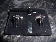 Junior Warden Cufflink / Tieslide/ lapel pin set, Masonic, craft, (silv plate)
