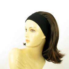 turban chimio avec bandeau cheveux châtain méché cuivré ref XENA en 6H30