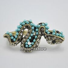 Snake Pearl Crystal 2 Finger Double Ring - Beautiful Women's Jewellry - NEW