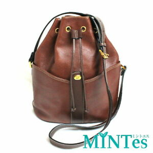 Auth Dunhill Drawstring Leather Shoulder Bag Brown Brown Diagonal Hanging [Used]