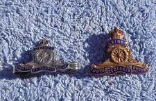 Two Royal Artillery enamel sweetheart badges
