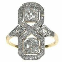 925 Silver 2.10 CT Round Diamond 14K White Gold FN Art Deco Wedding Antique Ring