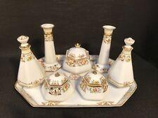 Vintage Antique Noritake Floral & Gold 8 Piece Dressing Table Bedroom Set