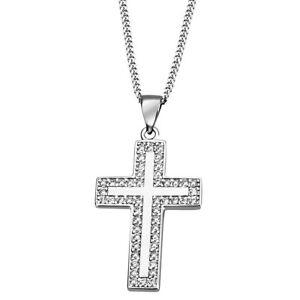 Goldmaid Collier Kreuz 925 Sterlingsilber 50 weiße Zirkonia Echtschmuck NEU