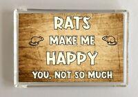 Rat Gift - Novelty Fridge Magnet - Makes Me Happy - Ideal Present Birthday Xmas