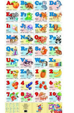 Learn Alphabet and Numbers Wall Poster Abc on Cardboard 8x13""