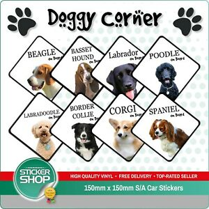 Dog On Board Car Sticker / Suction Cup Sign Various Breeds Available