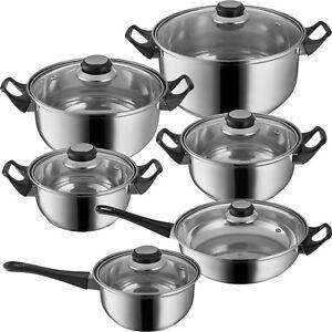 12 tlg Edelstahl Kochtöpfe mit Glasdeckel Kochtopfset Topfset Pfanne Topf Töpfe